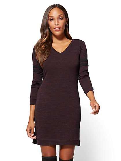 Soho Street - Striped-Sleeve Shift Dress - New York & Company
