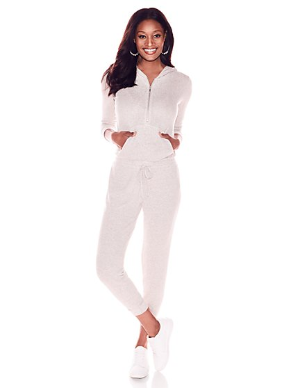 Soho Street - Super-Soft Knit Hooded Jumpsuit - New York & Company