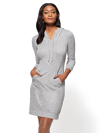 Soho Street - Super-Soft Knit Hooded Sweatshirt Dress - New York & Company