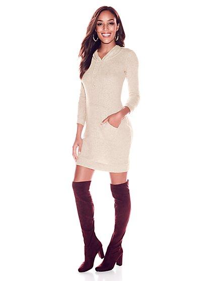 Soho Street - Super-Soft Knit Hooded Sweatshirt Dress - New York & Company