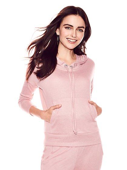 Soho Street - Super-Soft Knit Hooded Sweatshirt - New York & Company