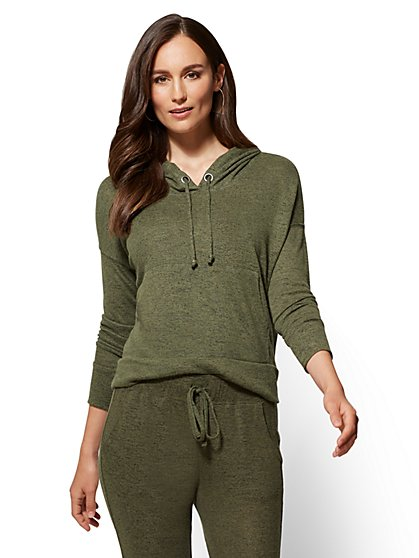 Soho Street - Super-Soft Knit Hooded Sweatshirt - New York & Company