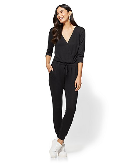 Soho Street - Super-Soft Knit Wrap Jumpsuit - New York & Company