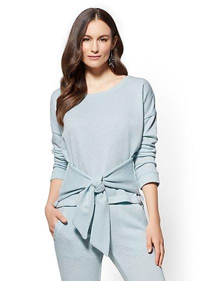 Soho Street - Tie-Front Sweatshirt - Metallic - New York & Company