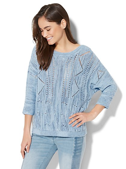 Soho Sweater Collection - Open-Stitch Dolman Sweater - New York & Company