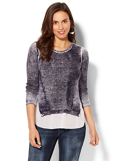 Soho Sweater Collection - Open-Stitch Twofer Sweater - New York & Company