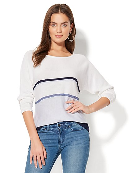 Soho Sweater Collection - Striped Dolman Sweater - New York & Company