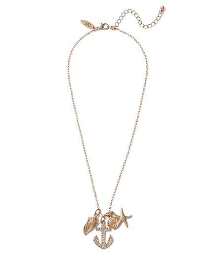 Sparkling Beach Charm Pendant Necklace  - New York & Company