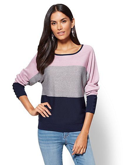 Sparkling Colorblock Dolman Sweater  - New York & Company