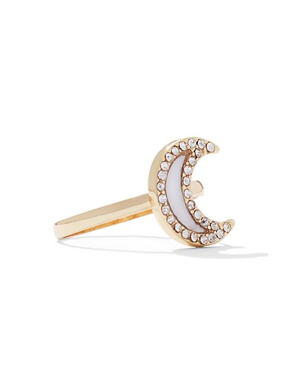 Sparkling Crescent Moon Ring  - New York & Company