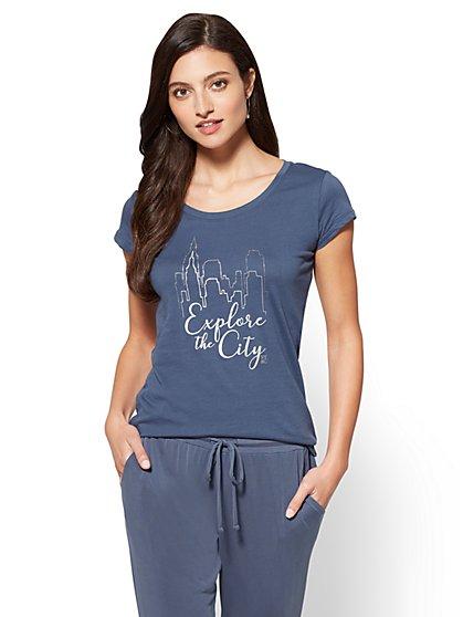"Sparkling ""Explore the City"" Graphic Logo Tee - New York & Company"