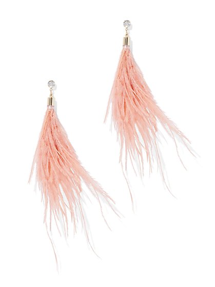 Sparkling Feather Drop Earring - New York & Company