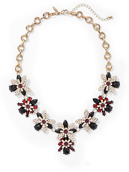 Sparkling Floral Statement Necklace  - New York & Company