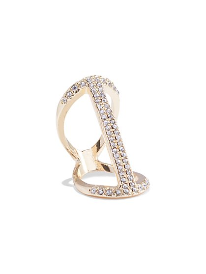 Sparkling Goldtone Bar Ring - New York & Company