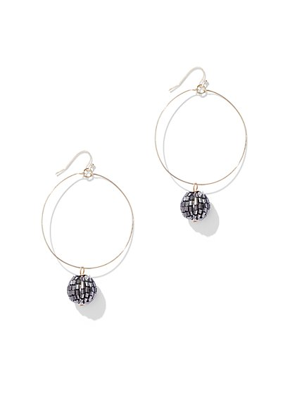 Sparkling Goldtone Hoop Drop Earring - New York & Company
