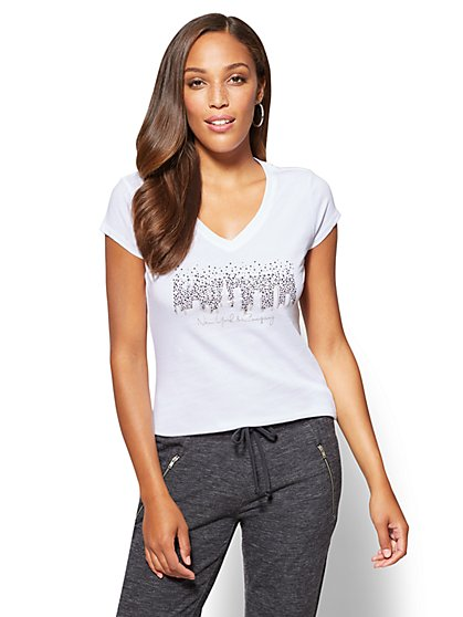 Sparkling NYC Skyline Graphic Logo Tee - New York & Company