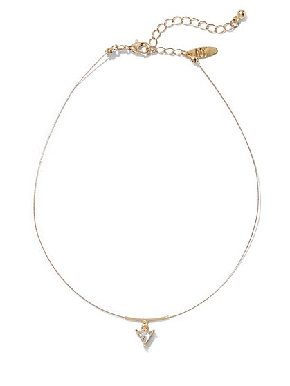 Sparkling Pendant Choker Necklace  - New York & Company