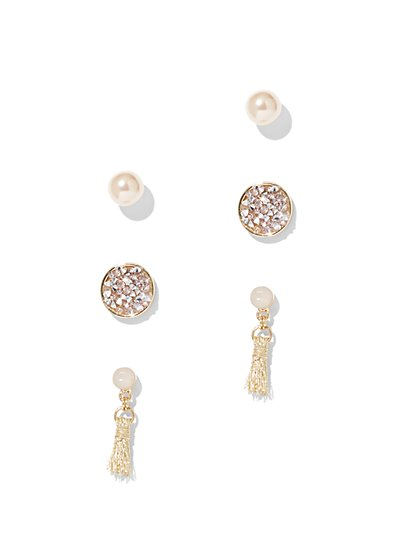Sparkling Post & Drop Earring Set - New York & Company
