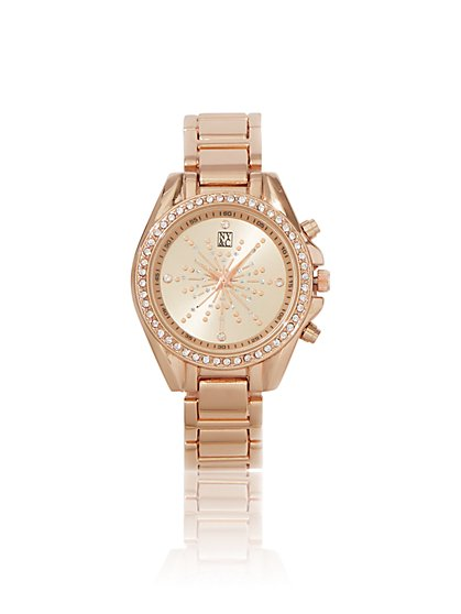 Sparkling Rose Goldtone Link Watch  - New York & Company
