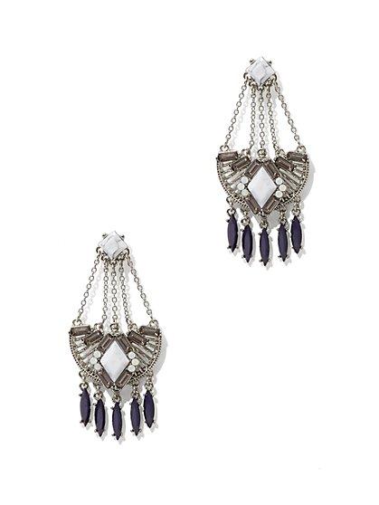 Sparkling Silvertone Chandelier Earring  - New York & Company
