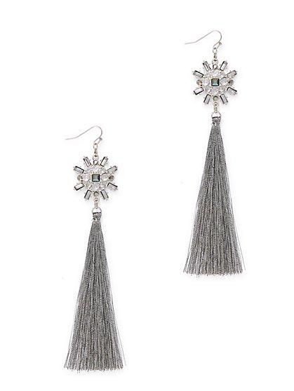 Sparkling Silvertone Tassel Drop Earring  - New York & Company