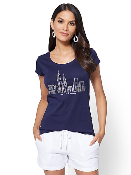 Sparkling Skyline Graphic Logo Tee - New York & Company