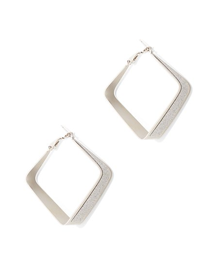 Sparkling Square Hoop Drop Earring  - New York & Company