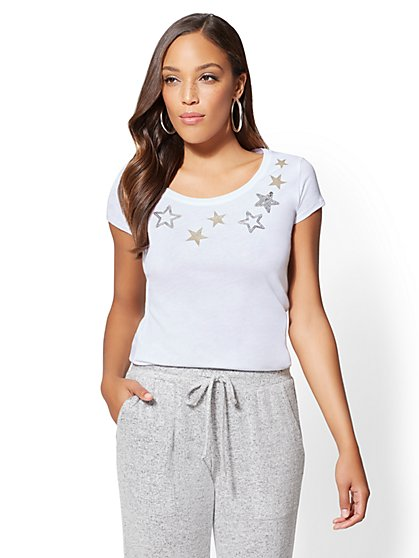 Sparkling Star Scoopneck Tee - New York & Company