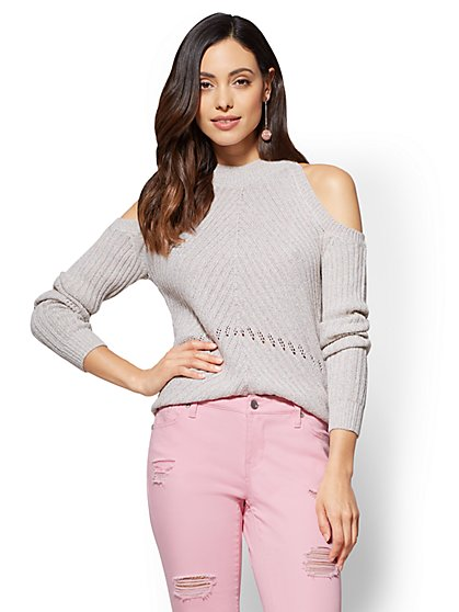 Sparkling Textured Cold-Shoulder Sweater - New York & Company