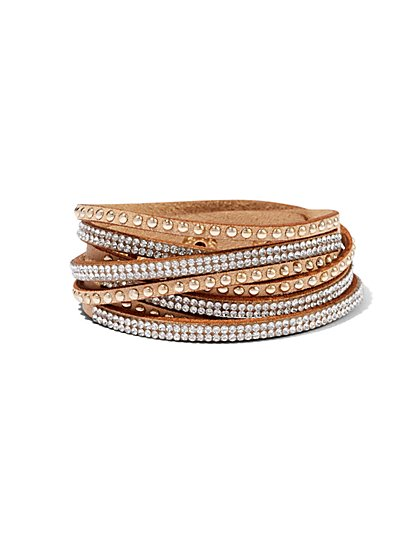 Sparkling Three-Row Wrap Bracelet  - New York & Company