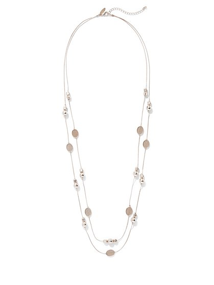 Sparkling Two-Row Beaded Necklace  - New York & Company