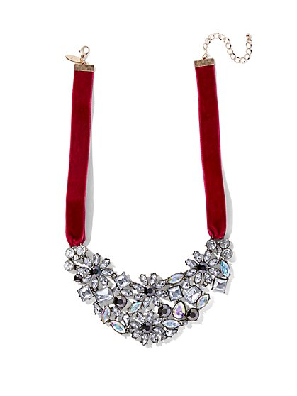Sparkling Velvet-Accent Statement Necklace  - New York & Company