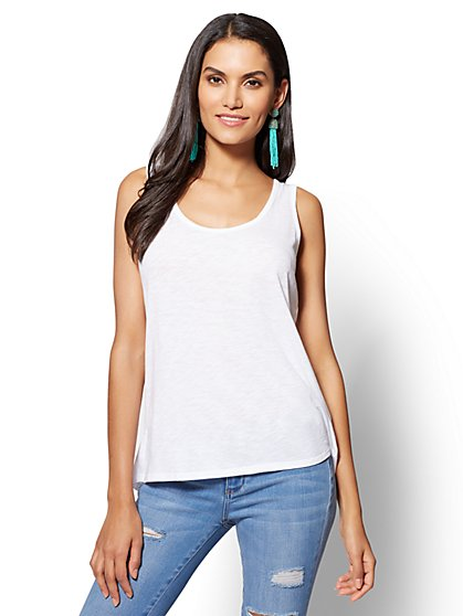 Split-Back Hi-Lo Tank Top - New York & Company
