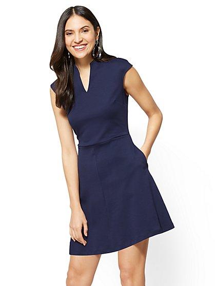 Split-Neck Fit & Flare Dress - New York & Company