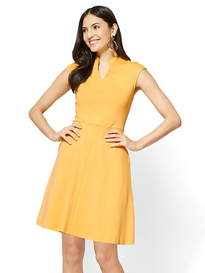 Split-Neck Fit & Flare Dress - New York & Company