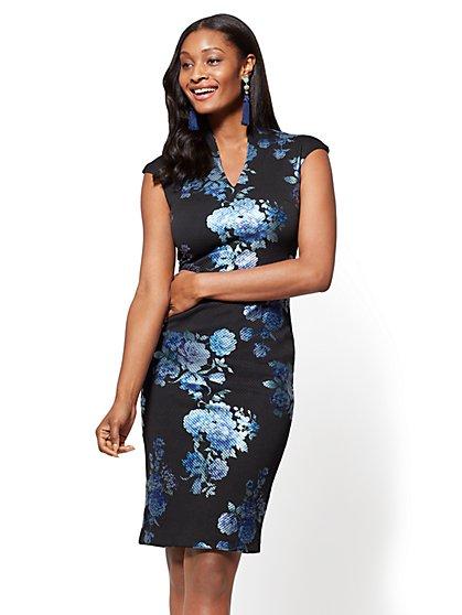 Split-Neck Sheath Dress - Metallic-Foil Floral - New York & Company