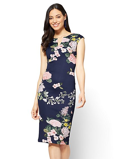 Split-Neck Sheath Dress - Navy - Floral  - New York & Company