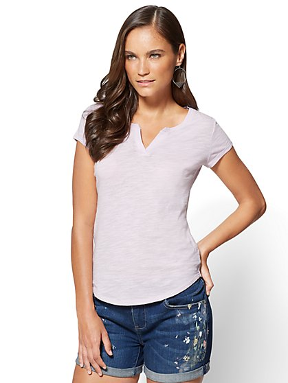 Split-Neck Tee - New York & Company