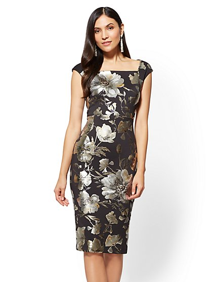 Square-Neck Sheath Dress - Metallic-Foil Floral - New York & Company
