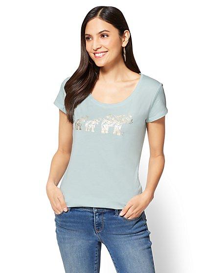 St. Jude Metallic-Foil Elephants Graphic Logo Tee - New York & Company