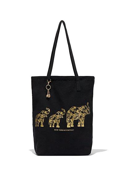 St. Jude Metallic-Foil Elephants Tote Bag - New York & Company