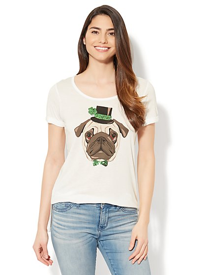 St. Patrick's Day Pug Graphic Logo Tee - New York & Company