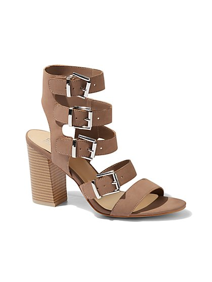 Stacked-Heel Gladiator Sandal - New York & Company
