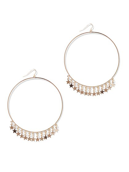 Star-Accent Hoop Drop Earring - New York & Company