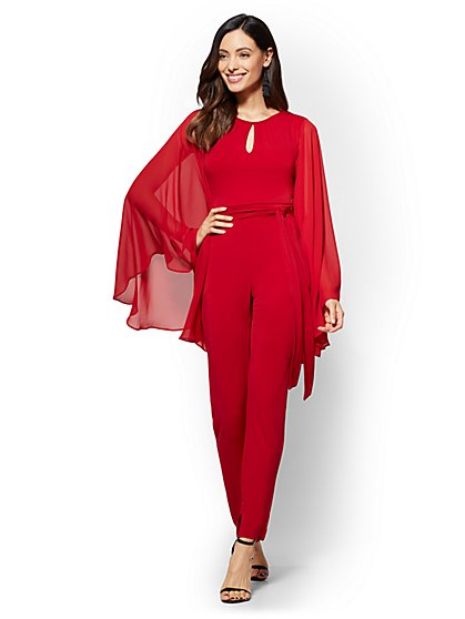 Statement-Sleeve Jumpsuit - Red - Petite - New York & Company