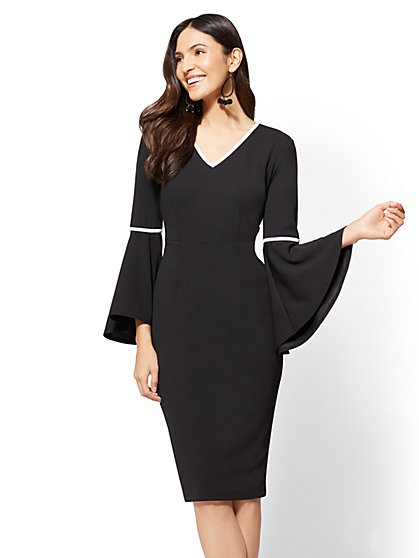 Statement-Sleeve Sheath Dress - New York & Company