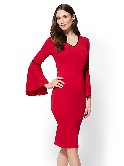 Statement-Sleeve Sheath Dress - New York & Company