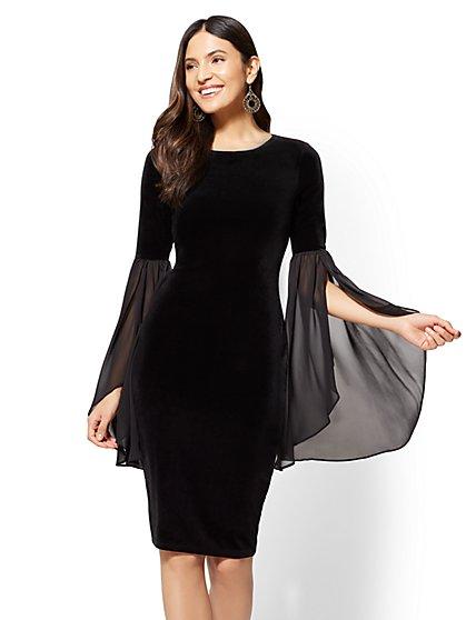 Statement-Sleeve Velvet Sheath Dress - New York & Company