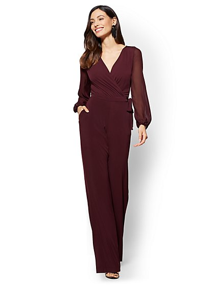 Statement-Sleeve Wrap Jumpsuit - New York & Company
