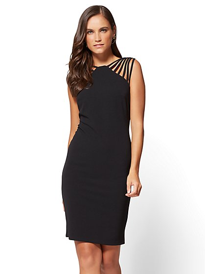 Strap-Accent Sheath Dress - New York & Company